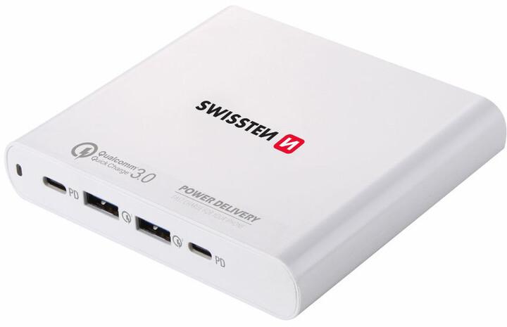 SWISSTEN síťový adaptér 2x USB-C + 2x USB, PD, QC, 3A, 87W, bílá