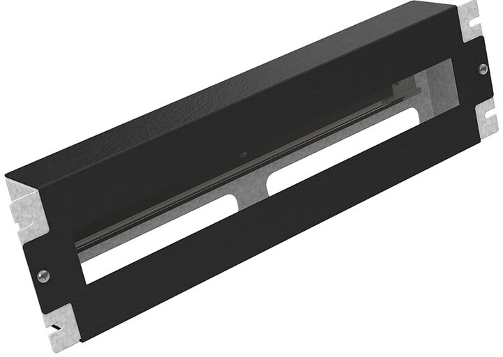 """Solarix instalační panel 3U s DIN lištou do 19"""" rozvaděče, RAL 9005"""