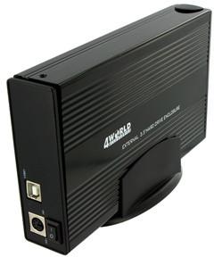 4World hliníkový box pro HDD 3,5'' SATA, černá