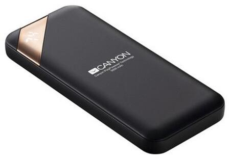 Canyon powerbanka 5000 mAh Li-poly, Smart IC, displej s indikací nabití, černá