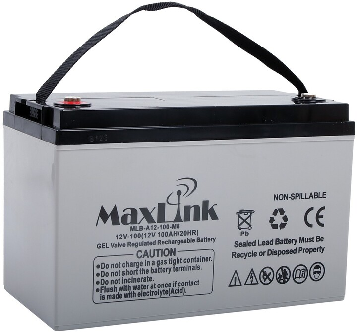 MaxLink baterie AGM 12V/100Ah, olověný akumulátor M8