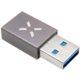 FIXED redukce USB-C - USB-A 3.0, OTG, šedá