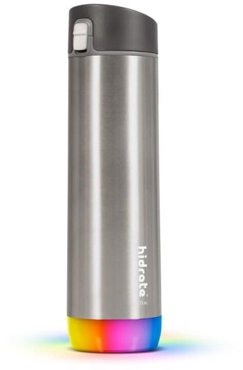 HidrateSpark Steel chytrá lahev s brčkem, 620 ml, Stainless