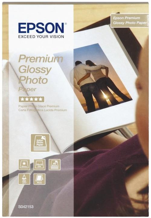Epson Foto papír Premium Glossy, 10x15 cm, 40 listů, 255g/m2, lesklý