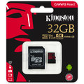 Kingston Micro SDHC Canvas React 32GB 100MB/s UHS-I U3 + SD adaptér