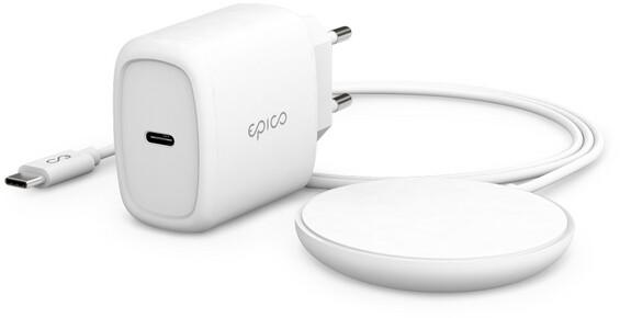 EPICO bezdrátová nabíječka Magnetic Pad, 7,5W/15W USB-C, 20W PD, bílá