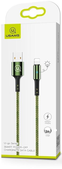 USAMS dobíjecí/datový kabel SJ243 Lightning Smart Power Off 2m, zelená