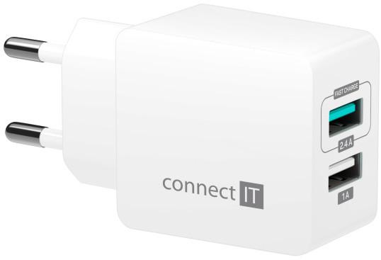 CONNECT IT Fast Charge nabíjecí adaptér 2×USB-A, 3,4A, bílá