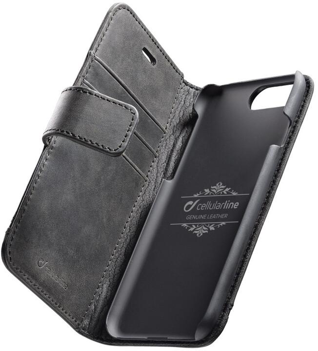 CellularLine prémiové kožené pouzdro typu kniha Supreme pro Apple iPhone 7 Plus/8 Plus, černé