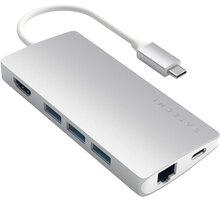 Satechi Type-C Multi-Port Adapter 4K Ethernet v2, stříbrná - ST-TCMA2S