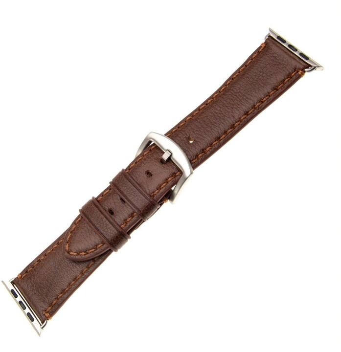 FIXED Berkeley kožený řemínek pro Apple Watch 42mm a 44mm se stříbrnou sponou, hnědý