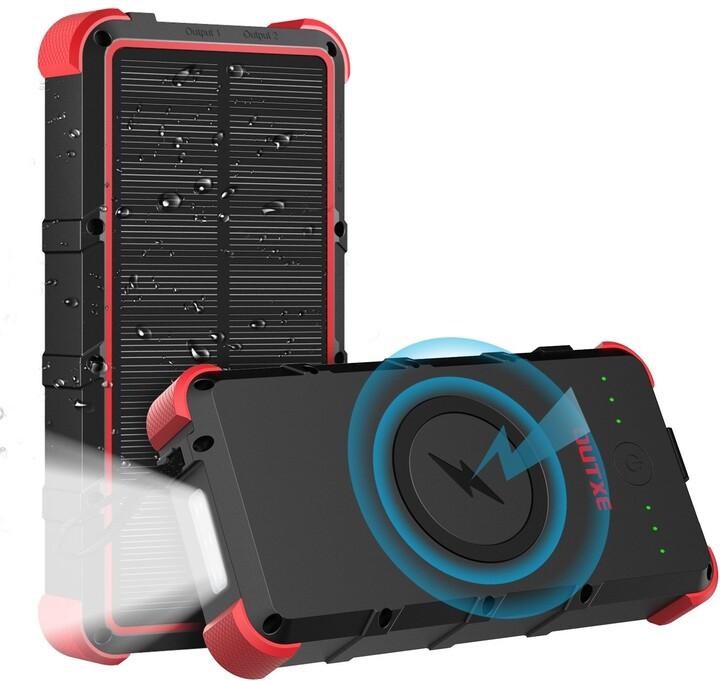 OUTXE Odolná IP67 Bezdrátová Solární Power Banka Type C/microUSB QuickCharge 25000mAh, černá/červená