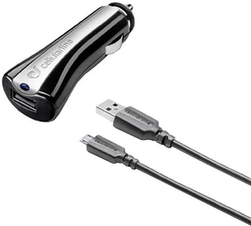CellularLine autonabíječka s datovým kabelem a konektorem microUSB, 1A