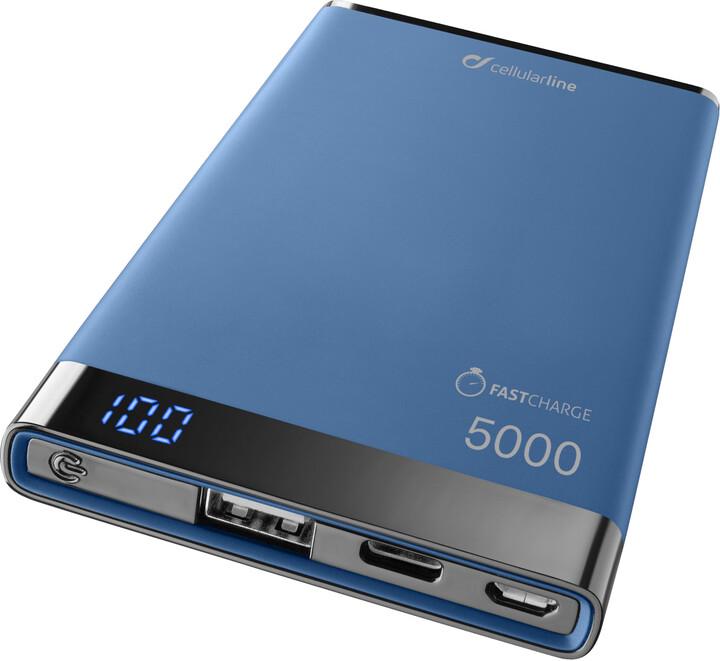 CellularLine powerbanka FREEPOWER MANTA S 5000mAh, USB-C + USB port, modrá