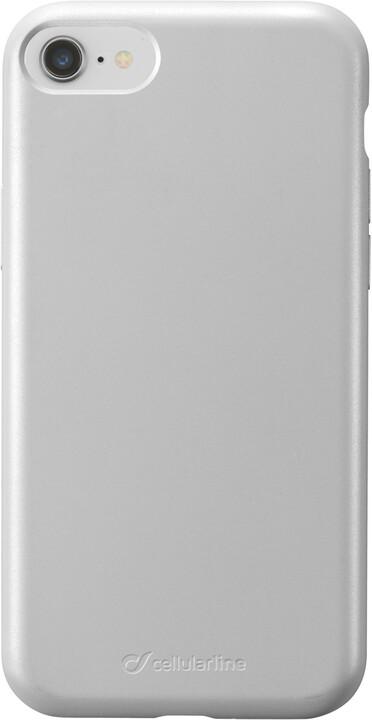 Cellularline ochranný silikonový kryt Sensation Metallic pro Apple iPhone 7/8/SE 2020, stříbrná