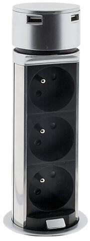 Solight USB výsuvný blok zásuvek, 3 zásuvky, plast, prodlužovací přívod 1,5m, 3 x 1mm2, stříbrná
