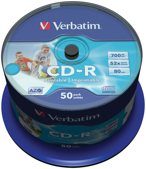 Verbatim CDR 52x 80 minut spindl inkjet printable ID Branded 50ks