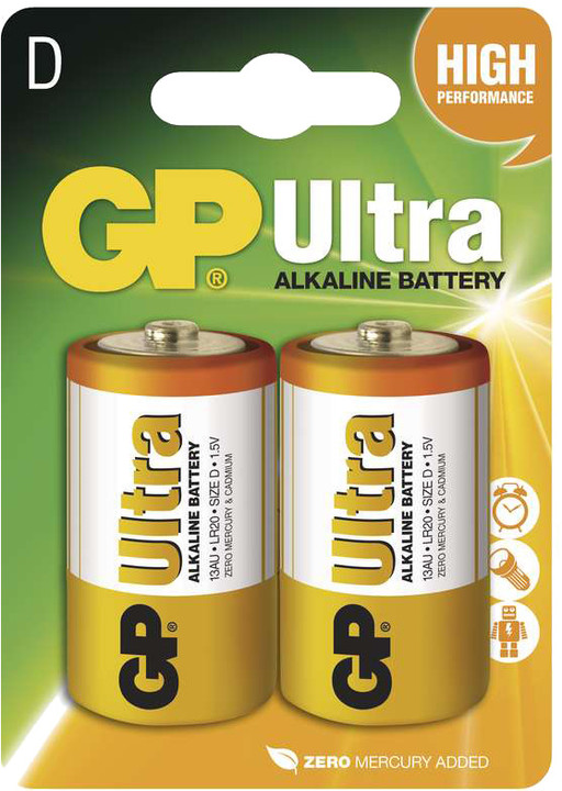 GP Ultra Plus, alkalická, D 2ks