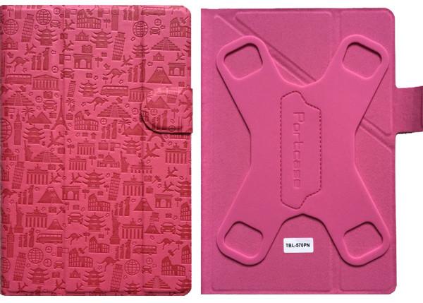 """PORTCASE pouzdro na tablet PC, TBL-570PN, 7-8"""", EKO kůže, růžové"""