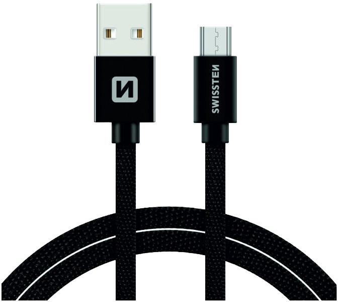 SWISSTEN textilní datový kabel USB A-B micro, 3m, černý
