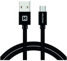 SWISSTEN textilní datový kabel USB A-B micro, 3m, černý - 71527300