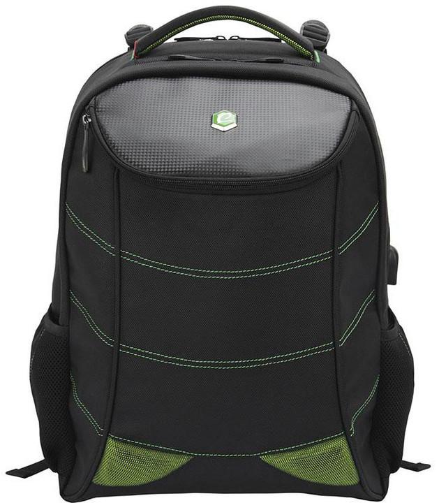"BESTLIFE Gaming batoh 17"" s USB konektorem, černá se zelenými prvky"
