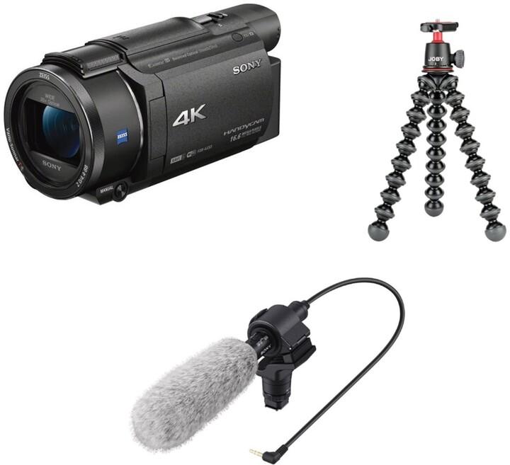 Sony FDR-AX53 vloger kit (mikrofon + stativ)