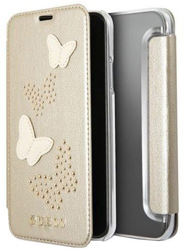 Guess Studs and Sparkle Book Pouzdro Beige pro iPhone X