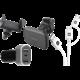 MAX starter pack - nabíječka do auta + držák do auta + kabel microUSB/USB-C  + MAX MUC1101W kabel 2v1 USB/micro USB a USB Type-C, 1m, bílá + MAX autonabíječka MCC3310BG 2 x USB, 1 x USB-C (QC 3.0), černostříbrná