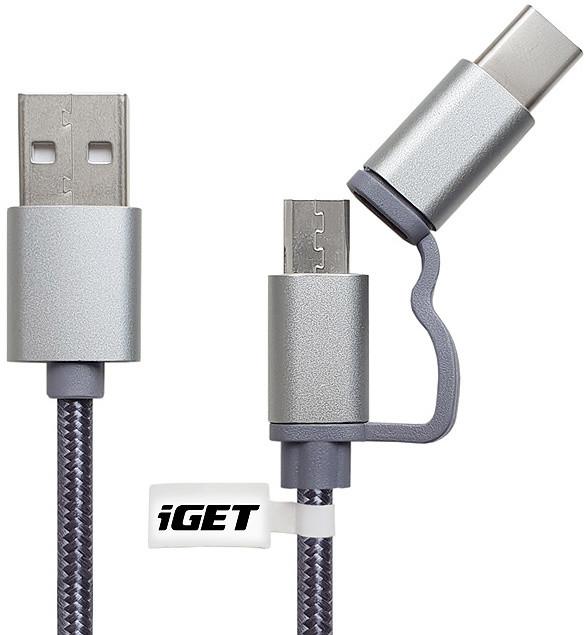 iGET G2V1 USB kabel 2v1, 1m, stříbrný, microUSB i USB-C, prodloužené koncovky