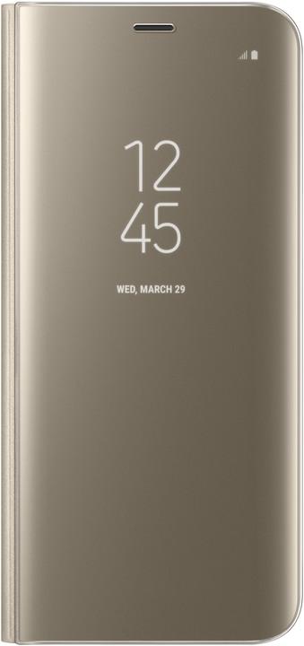 Samsung S8 Flipové pouzdro Clear View se stojánkem, zlatá