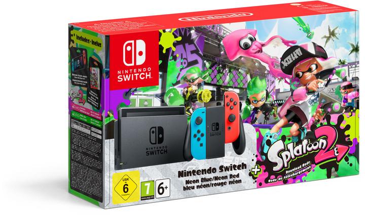 Nintendo Switch, červená/modrá + Splatoon 2