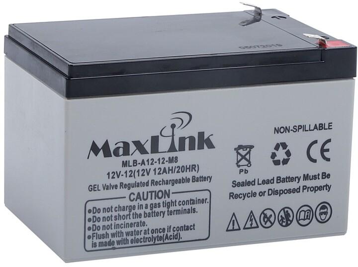 MaxLink baterie AGM 12V/12Ah, olověný akumulátor F2