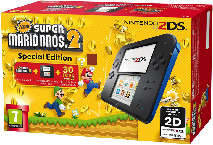 Nintendo 2DS, černá + New Super Mario Bros. 2