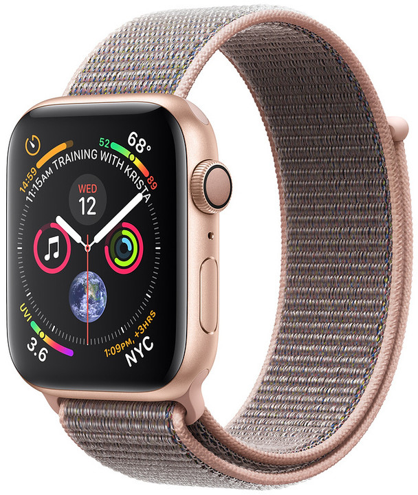 Apple Watch series 4, 40mm, pouzdro ze zlatého hliníku/růžový provlékací řemínek