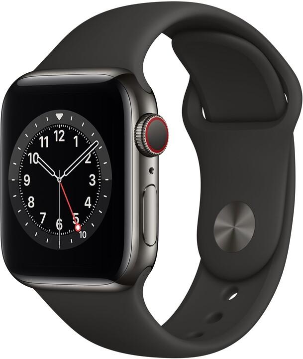 Apple Watch Series 6 Cellular, 44mm, Graphite Stainless Steel, Black Sport Band - Regular
