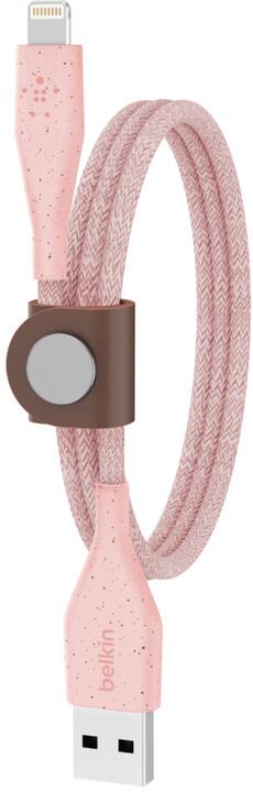 Belkin kabel DuraTek USB-A - Lightning, M/M, MFi, opletený, s řemínekm, 1.2m, růžová