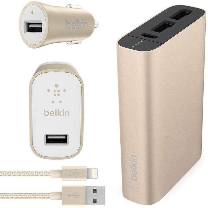 Belkin metalická nabíjecí sada Colormatch + kabel - zlatá