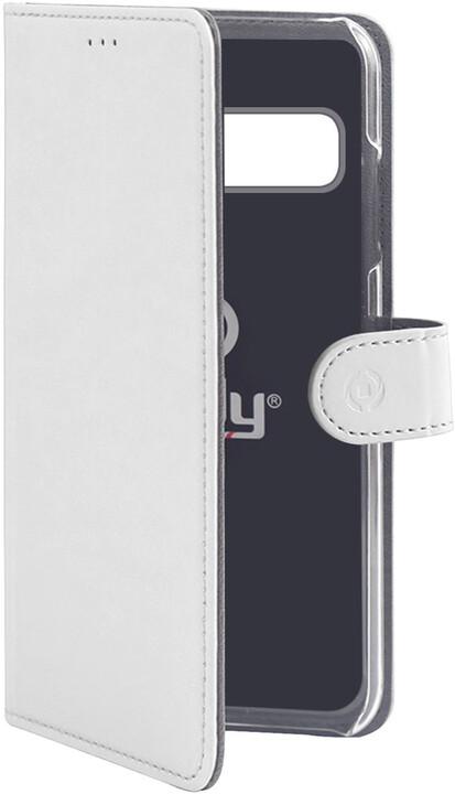 CELLY pouzdro typu kniha Wally pro Samsung Galaxy S10+, PU kůže, bílá