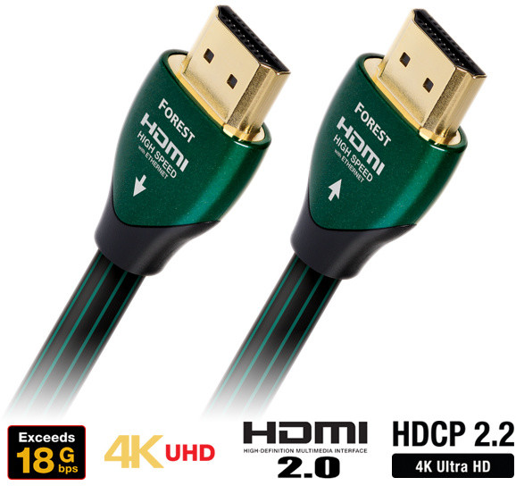 Audioquest HDMI 3D, 4K, 1080p, Ethernet, stříbro 0.5%, (Forest) 1m