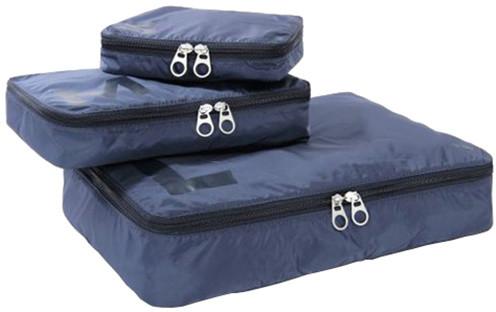 TUCANO sada cestovních organizérů, 3 velikosti, pevný a lehký polyester, modrá