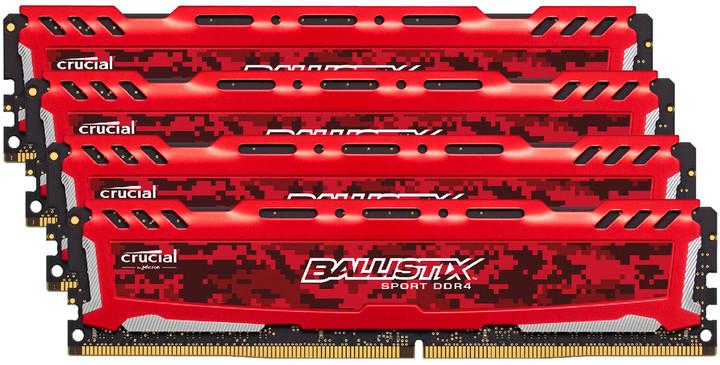 Crucial Ballistix Sport LT Red 16GB (4x4GB) DDR4 2400