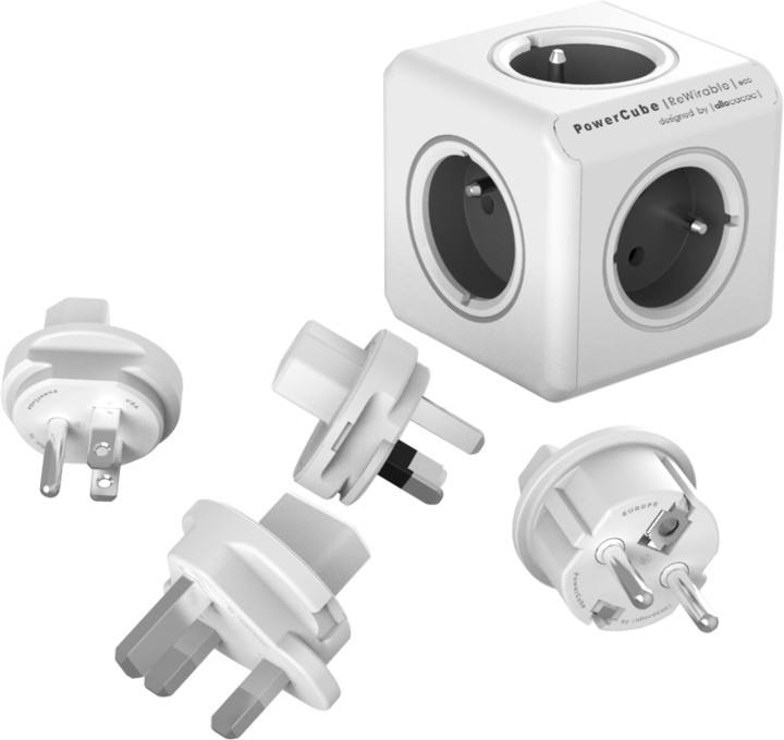PowerCube REWIRABLE + Travel Plugs rozbočka 5ti zásuvka, šedá