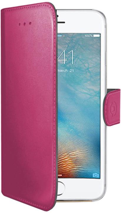 CELLY Wally pouzdro typu kniha pro Apple iPhone 7, PU kůže, růžová