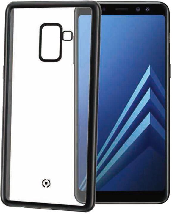CELLY Laser TPU pouzdro - lemování s matným kovovým efektem pro Samsung Galaxy A8 (2018), černé