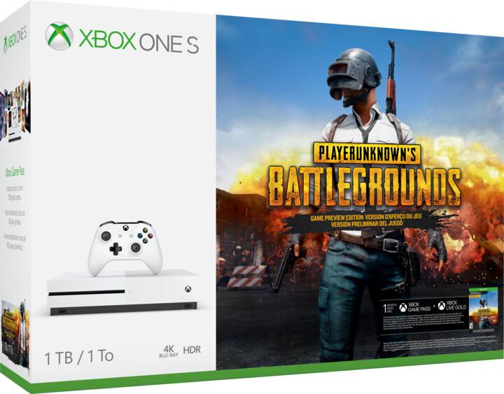 XBOX ONE S, 1TB, bílá + PlayerUnknown's Battlegrounds