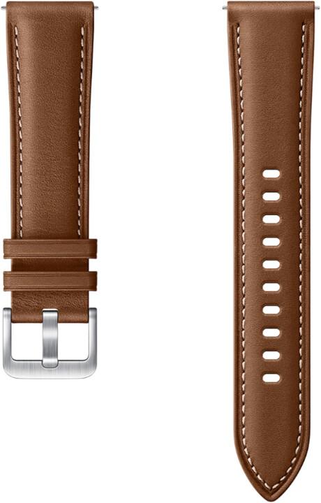 Samsung výměnný řemínek pro Samsung Galaxy Watch 3, kožený, 20mm, hnědá