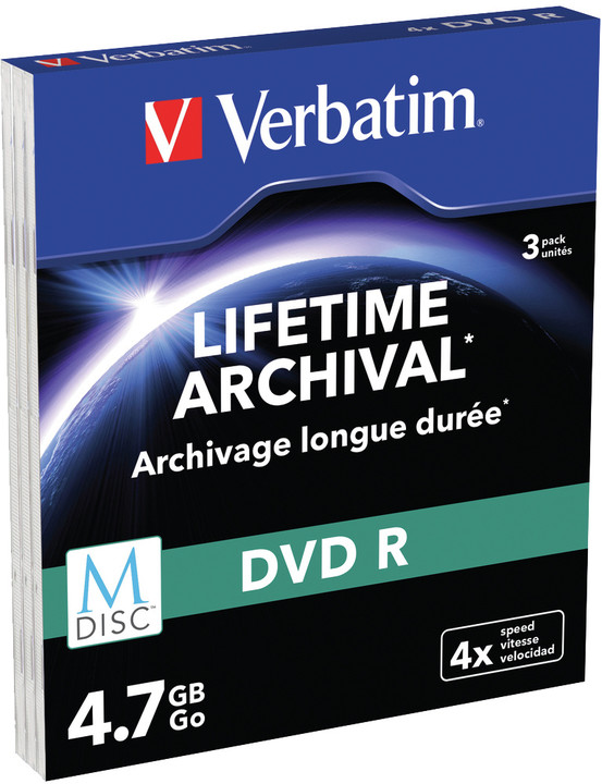Verbatim DVDR 4,7GB, M-Disc, 4x, 3 ks, Slim