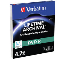 Verbatim DVDR 4,7GB, M-Disc, 4x, 3 ks, Slim - 43826