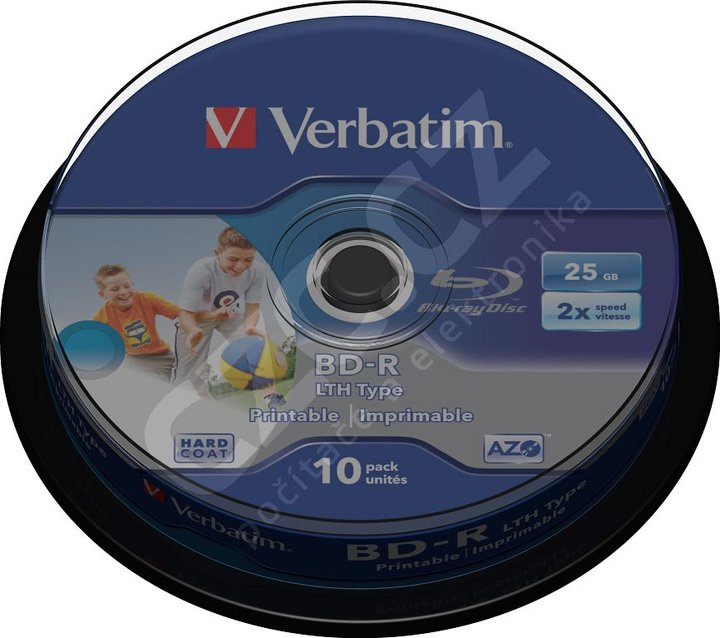 Verbatim BD-R, 2x, 25GB, printable, 10 ks, spindle
